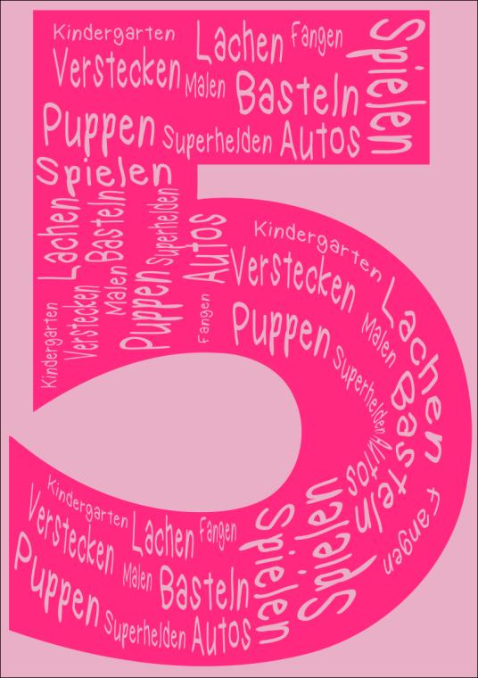 Geburtstagszahl 5 pink
